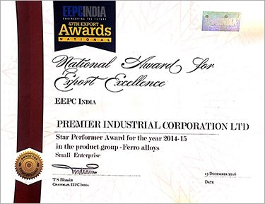 EEPCINDIA Certificate of Excellence